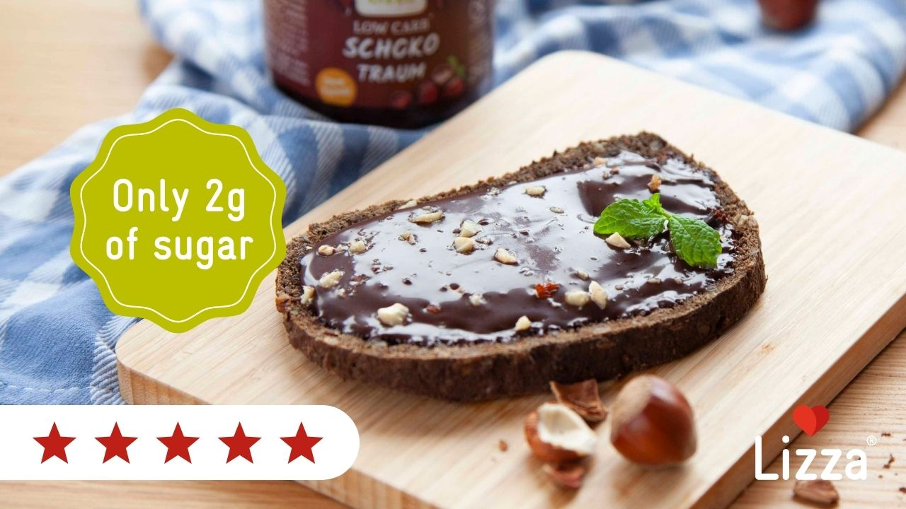 Bread with a low sugar chocolate spread