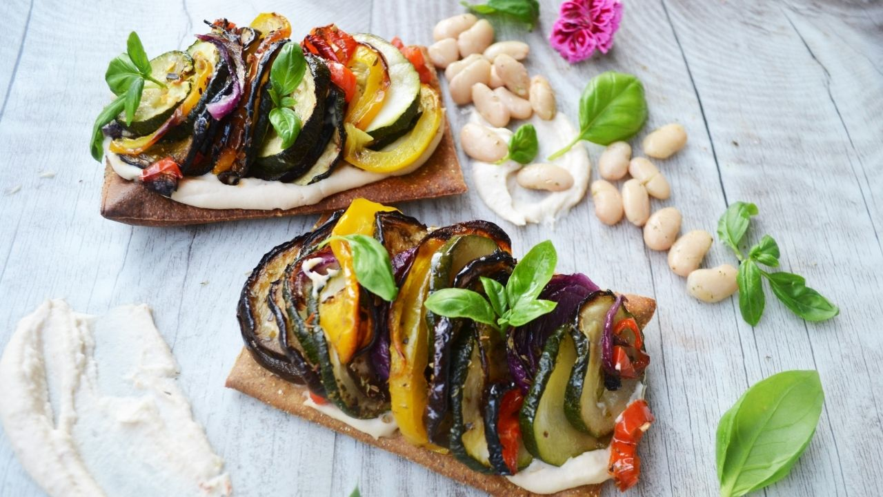 Low carb vegetable tian with white bean puree