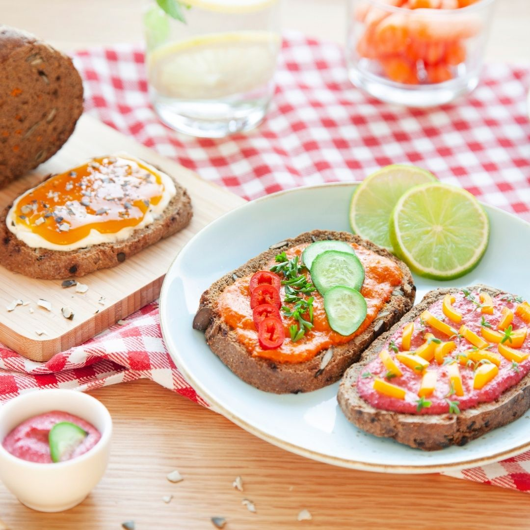 Gluten free low carb vegan bread with fruit spread