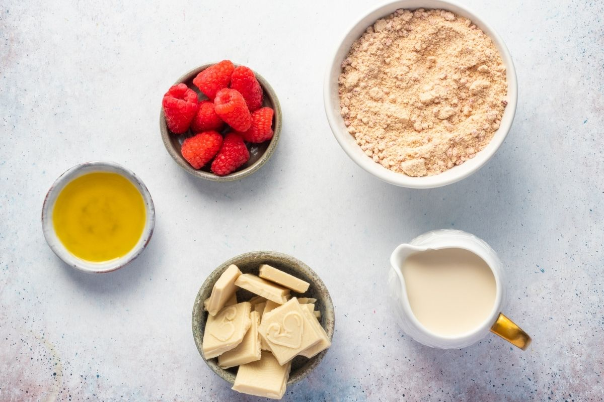 Ingredients for Low Sugar White Chocolate Raspberry Lava Cake