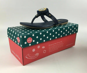 "NIB LINDSAY PHILLIPS CHANGEABLE STRAP SHOE ""ROSIE"" NAVY SIZE 9 - LOT 4078"