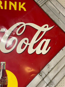 1940 Coca Cola Diamond Framed Metal Sign Art Deco Frame! Rare Signed Piece