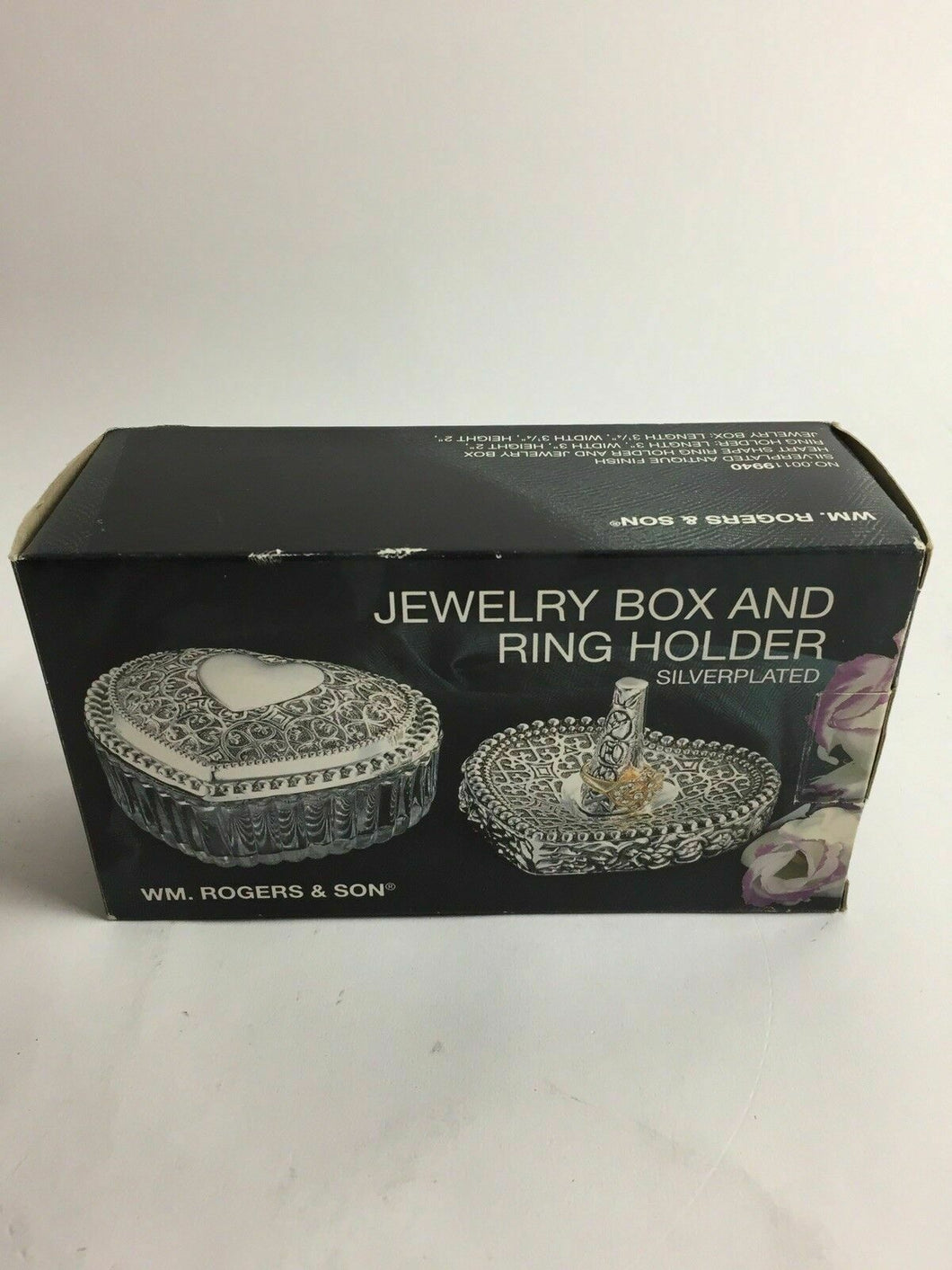 NIB WM. Rogers & Son Silverplated Jewelry Box & Ring Holders - lot 1796