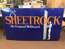 "Load image into Gallery viewer, Vintage US SHEETROCK ""the Fireproof Wallboard"" Advertising Sign US- 5304"