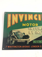 "Load image into Gallery viewer, Invincible Motor Insurance Original Vintage Tin Metal Sign 20"" Nice Graphics5270"