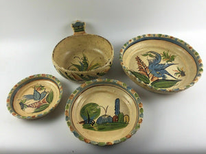4pc Vintage Hand Painted Mexican Glaze Pottery Serving Bowls - lot 1305