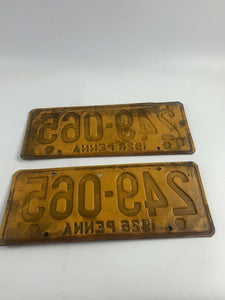 1926 Pennsylvania License Plates Matching Pair- B343