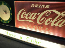 Load image into Gallery viewer, Rare and Vintage Coca Cola Fountain Shop Light up Clock DRINK IN BOTTLES WOW
