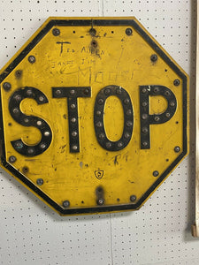 Rare Antq  Original STOP Sign with Cat Eyes Pittsburgh Allegheny County RARE