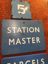 Load image into Gallery viewer, Lot Of 3 British Railroad Signs- Parcels And Left Luggage-Station Master-#5-5257
