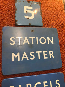 Lot Of 3 British Railroad Signs- Parcels And Left Luggage-Station Master-#5-5257
