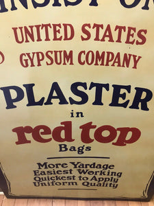 "Vintage US Gypsum ""Plaster In Red Top"" Advertsing Sign W/ Booklet-5305"