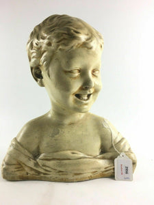 Antique Italian Pottery Bust Of A Laughing Child 4692