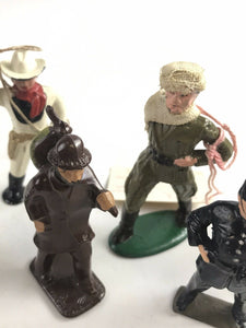Assorted Lot Of 6 Vintage Lead Figures- Cowboy, Soldier, Ect- 5761