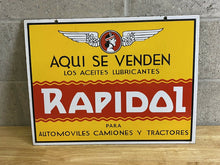 Load image into Gallery viewer, Vintage Double Sided Porcelain Spanish Tractor Lubricant Oil Automobile Sign