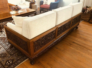 6 Piece Highly Carved And Upholstered Teakwood Livingroom Group