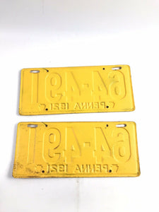 Pennsylvania 1921 License Plates Matching Pair- B204