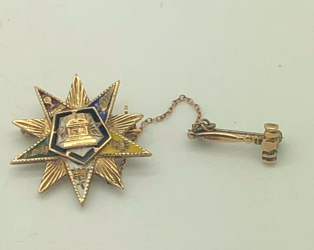 14K yellow gold order of the eastern star and Gavel masonic brooch.