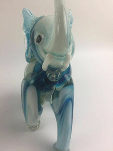 Hand Blown Art Glass Blue & White Elephant - lot 1327
