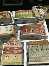 Load image into Gallery viewer, DICKENS OF LONDON 10 PIECE PORCELAIN HOUSES illuminated hand painted Mini -4402