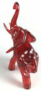 Red Art Glass Elephant W/ Trunk Up- 1170