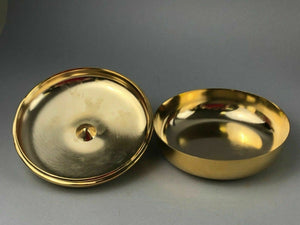 VALERIO ALBERELLO 24K GOLD ELECTROPLATED BRASS COVERED BOWL - LOT 3447