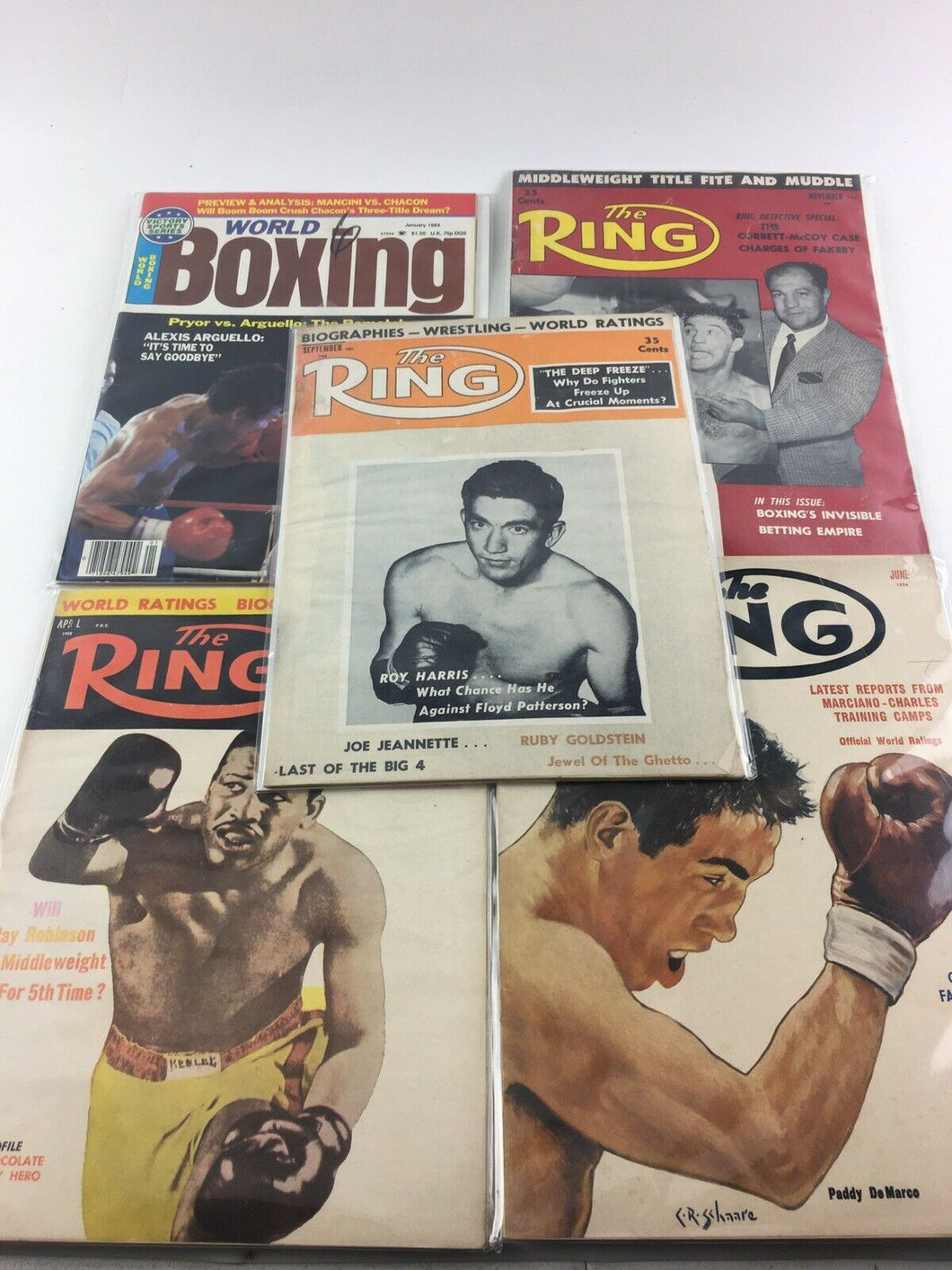Assorted Lot Of 5 Vintage Boxing Magazines-1954-84 MINT-5515