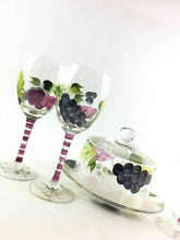 Load image into Gallery viewer, Grape And Flower Themed Painted Glassware 4580