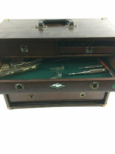 Vintage Machinist Tool Chest Box And Tools Leather Handle 4633
