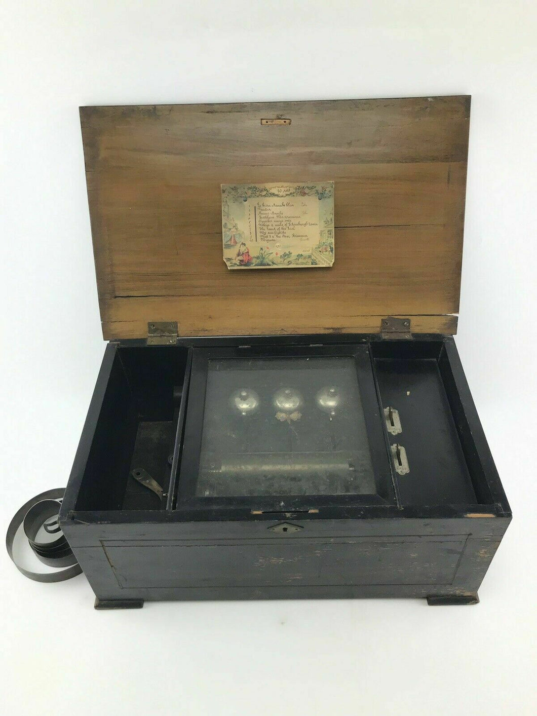 Antique Swiss 10 Airs Music Box W 3 Visible Bells- 3720