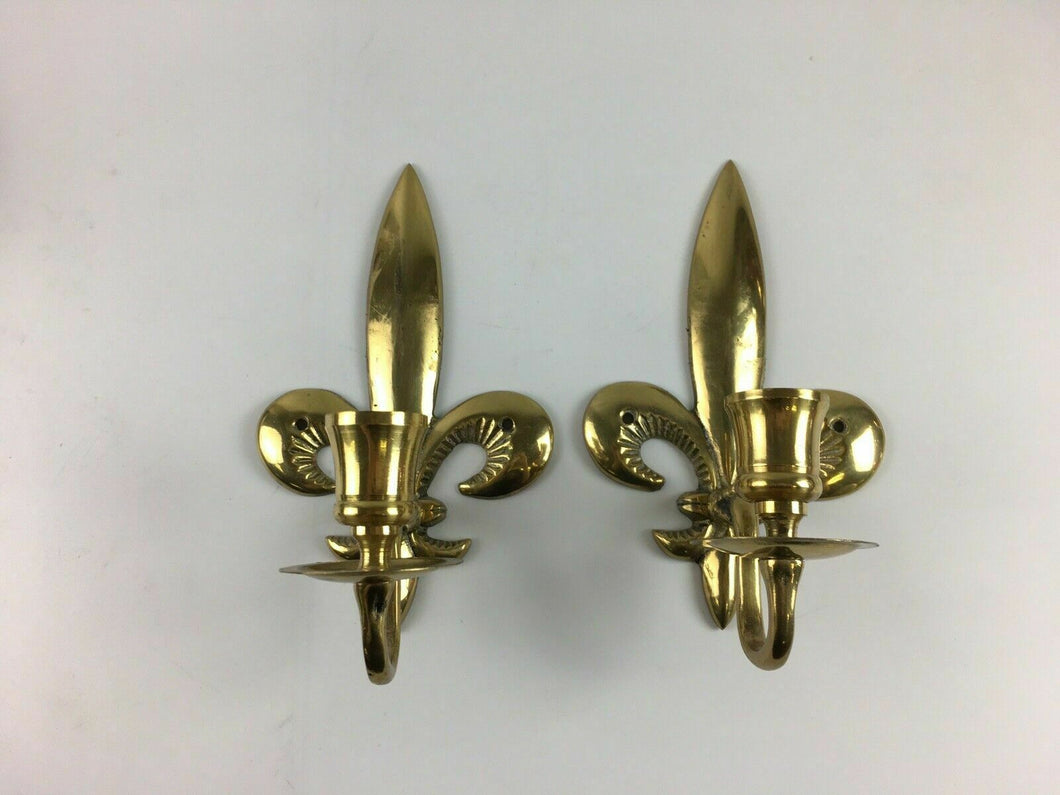 Pair Of Fleur De Lis Wall Sconce Brass Candle Holders - Lot 3883