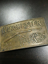 Load image into Gallery viewer, Vintage Winchester Repeating Arms Rifle Belt Buckle Solid Brass New Haven Conn.