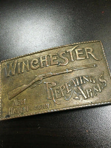 Vintage Winchester Repeating Arms Rifle Belt Buckle Solid Brass New Haven Conn.