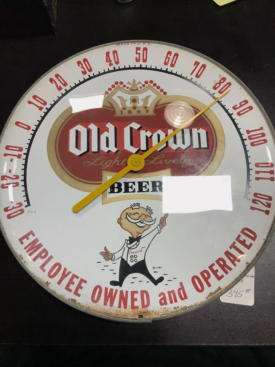Vintage Old Crown Ale Beer Thermometer W/Boy 5089
