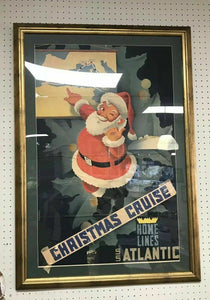 Antique Rare Vintage Home Lines Christmas Poster 1940's