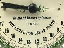 Load image into Gallery viewer, Vintage American Family Scale With Pan 25 Pounds Green Metal 1906 Model- 3748