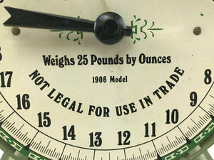 Vintage American Family Scale With Pan 25 Pounds Green Metal 1906 Model- 3748