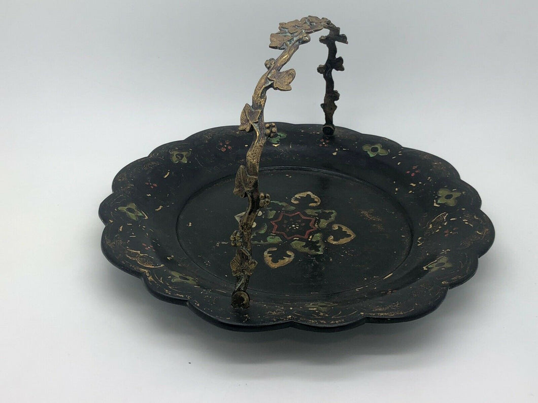 Victorian paper mache tray with ormolu grapevine handle,