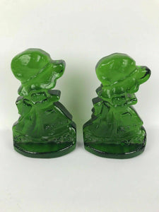 Vintage Green Art Glass L.E. Smith Holly Hobbie Girl Book Ends - lot 2045
