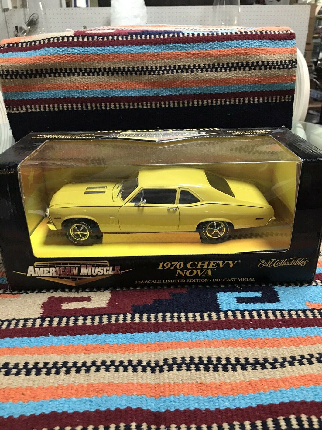 1970 YELLOW CHEVY NOVA, 1/18 ERTL AMERICAN MUSCLE     NEW IN BOX-9067