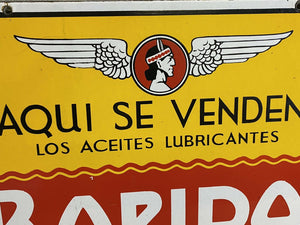 Vintage Double Sided Porcelain Spanish Tractor Lubricant Oil Automobile Sign