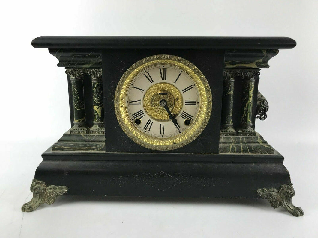 Ingraham ADRIAN 8-Day Mantle Clock Marbelized Trim Works - For Repair #1467