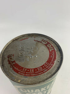 VINTAGE QUAKER STATE Motor Oil FULL Quart Metal Can SAE 30 - B359