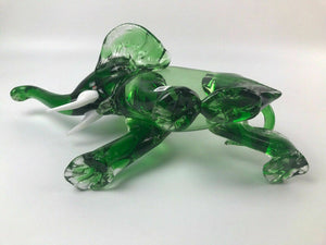 Vintage Murano Style Green Art Glass Elephant - lot 2991