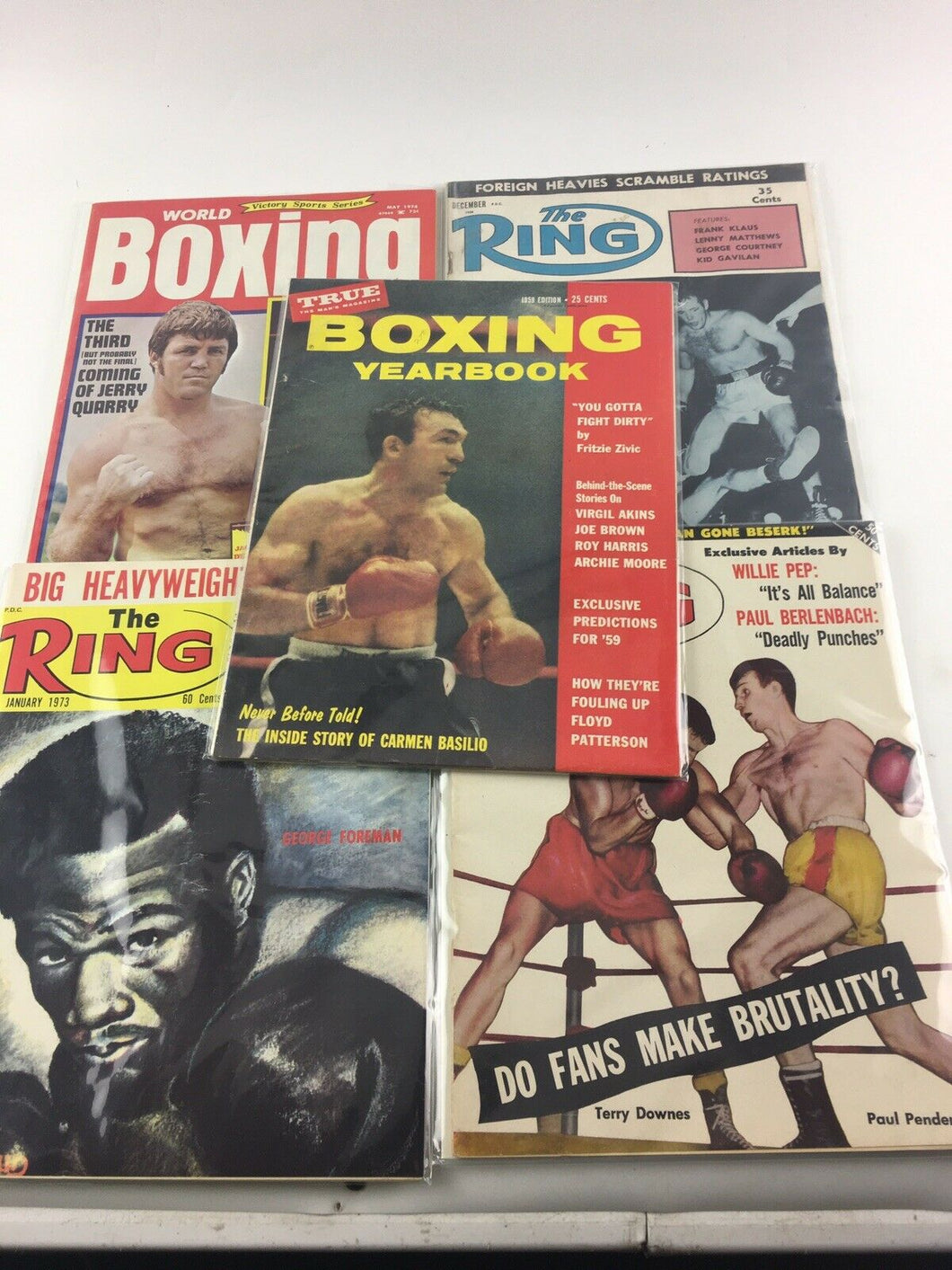 Assorted Lot Of 5 Vintage Boxing Magazines-1958-74 MINT-5479