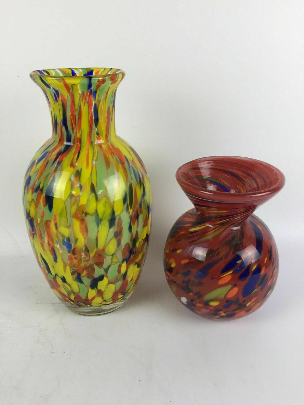 (2) Retro Multi Colored Glass Vases including F&C - lot 1806