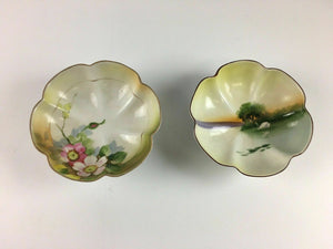 2pc Hand Painted Made In Japan Nippon Dish - Lot 3889