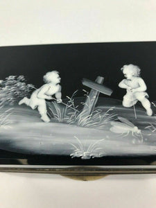 Mary Gregory Style Black Glass Casket Box- Lot 815