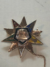 Load image into Gallery viewer, 14K yellow gold order of the eastern star and Gavel masonic brooch.