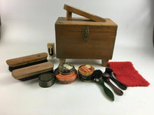 Load image into Gallery viewer, Vintage Shoe Shine Polish Box W/ Accessories - Lot 3976